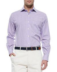 Peter Millar | Melange Ginghamcheck Sport Shirt Purple for Men | Lyst
