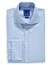 David Donahue - Blue Trim Fit Herringbone Dress Shirt for Men - Lyst