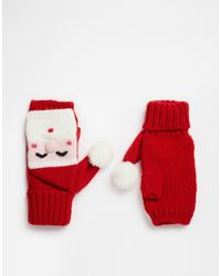 ASOS - Red Christmas Santa Knitted Palmwarmer - Lyst