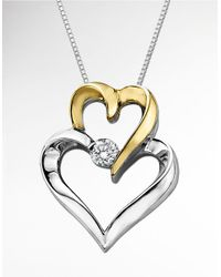 Lord & Taylor | Metallic Double Heart Pendant In Sterling Silver With 14 Kt. Yellow Gold And Diamond | Lyst