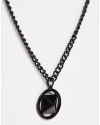 ASOS Geo Pendant In Black for men
