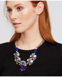 Ann Taylor - Blue Scattered Stone Statement Necklace - Lyst