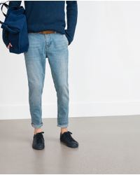 Zara | Blue Denim Chino Trousers for Men | Lyst