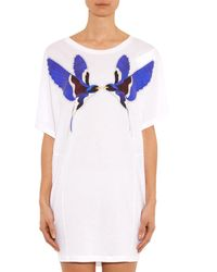 Stella McCartney White Swallow-Print T-Shirt Dress
