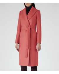 Reiss | Pink Lennie Long-length Wrap Coat | Lyst