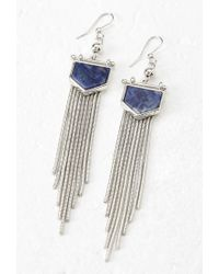 Forever 21 | Blue Fringed Faux Stone Earrings | Lyst