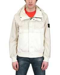 Stone Island White Cotton and Micro Rip Stop Casual Jacket for men