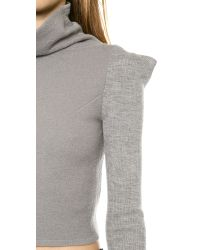 McQ - Gray Cropped High Sweater - Grey Melange - Lyst