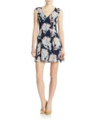 French Connection - Blue V Neck Floral Dress - Lyst