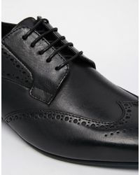 H by Hudson Black H By Hudson Leather Brogue Shoes for men