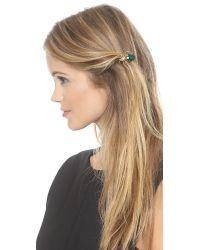 Dauphines of New York - Metallic Bejeweled Barette - Emerald - Lyst