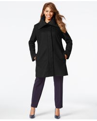 Jones New York | Black Plus Size Clean Front Walker Coat | Lyst