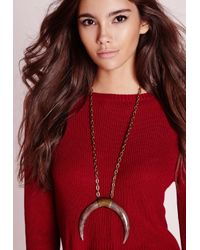 Missguided - Curve Horn Necklace Brown - Lyst