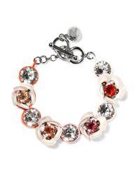 Shourouk Red Sautoir Rainbow Silver-tone Crystal Bracelet