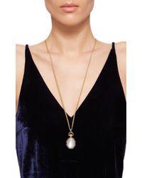 Monica Rich Kosann | Metallic 18k Yellow Gold One-of-a-kind Moonstone Locket With Blue Sapphires | Lyst