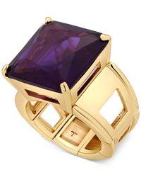 T Tahari - Gold-tone Purple Crystal Cocktail Stretch Ring - Lyst