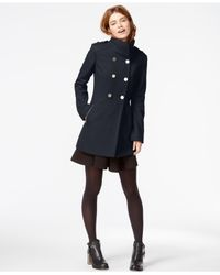 Guess Blue Double-breasted Pleated Peacoat