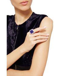 Nina Runsdorf | Blue Tanzanite Sugar Loaf Diamond Ring | Lyst