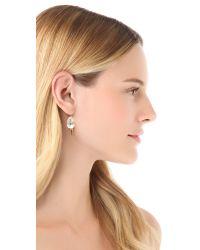 Fallon - Metallic Classique Pear Micro Spike Earrings - Lyst