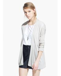 Mango Gray Fine-Knit Silk-Blend Cardigan