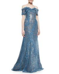 Rene Ruiz Blue Off-the-Shoulder Sequined Gown