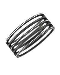 Vince Camuto | Black Matte Hematite-tone And Rhinestone Cutout Bangle Bracelet | Lyst