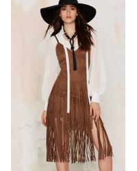 Nasty Gal | Brown Midi Ground Fringe Dress | Lyst