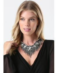 Bebe Metallic Crystal & Fringe Necklace