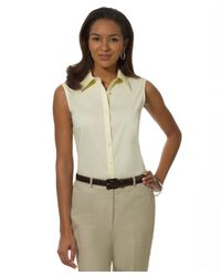 Brooks Brothers | Yellow Petite Non-iron Tailored-fit Sleeveless Dress Shirt | Lyst