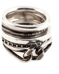 Werkstatt:münchen | Metallic Set Of Five Stack Rings for Men | Lyst