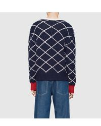 Gucci - Blue Patterned Wool Crew Neck Sweater for Men - Lyst