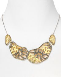 Judith Jack - Metallic 14kt Gold Plated Sterling Silver Marcasite Reef Stone Collar Necklace 16 - Lyst