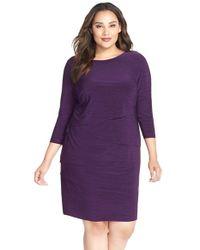 Tahari Purple Melange Jersey Tiered Sheath Dress