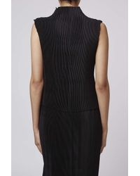 TOPSHOP - Black Pleated Funnel Top By Boutique - Lyst