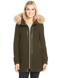 Trina Turk   Green 'allyson' Genuine Coyote Fur Trim Wool Blend Duffle Coat   Lyst