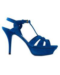 Saint Laurent - Blue Tribute Suede Sandals - Lyst