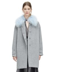 Rebecca Taylor Gray Wool Shearling Cocoon Winter Coat