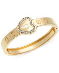 Guess - Metallic Silver-tone Crystal Heart Buckle Bangle Bracelet - Lyst