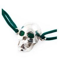 Leivan Kash Green Emerald Eyes Skull Bracelet