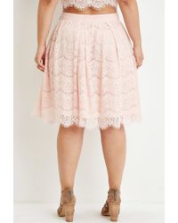 Forever 21 | Pink Plus Size Pleated Eyelash Lace Skirt | Lyst