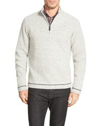Robert Graham | Gray 'ross' Regular Fit Quarter Zip Rib Wool Sweater for Men | Lyst
