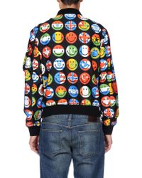 Moschino | Black Smiley Flags Printed Nylon Bomber Jacket for Men | Lyst