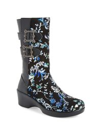 Alegria Black Erica Floral-Print Rainboots