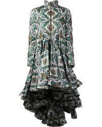Moncler Green Oversize Ruffled Coat