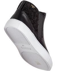 Tory Burch - Rosette High Top Sneaker Black Leather - Lyst