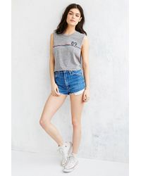 Truly Madly Deeply Gray Number 89 Cropped Muscle Tee