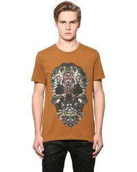 Just Cavalli Brown Tribal Skull Printed Cotton T-shirt for men