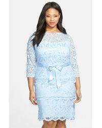 Marina | Blue Tiered Stretch Lace Sheath Dress | Lyst