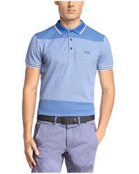 BOSS Green Blue Slim-fit Textured Polo Shirt 'pedro' for men