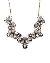 Forever 21 Gray Floral Faux Gem Necklace